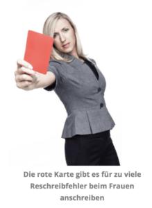 Frau zeigt rote Karte